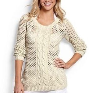 Tommy Bahama Open Knit Cream Gold Pullover Sweater